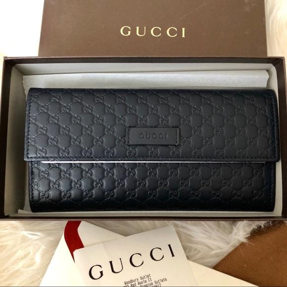 92c4037f4963 Gucci Bags | Microssima Leather Midnightblue Wallet | Poshmark